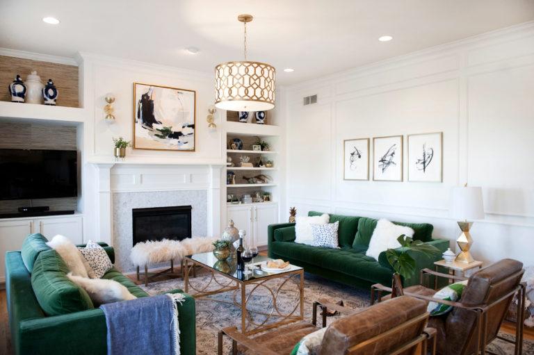 Salon w stylu klasycznym z elementami glamour