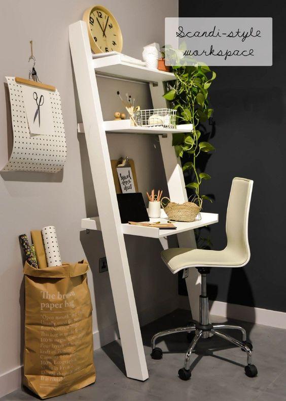 domowe biuro jak urządzić z małym biurkiem z półkami