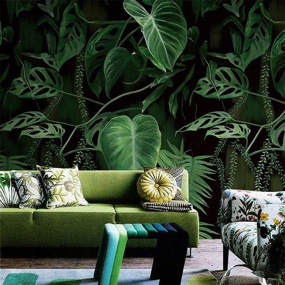Egzotyczne rośliny na fototapetach do salonu