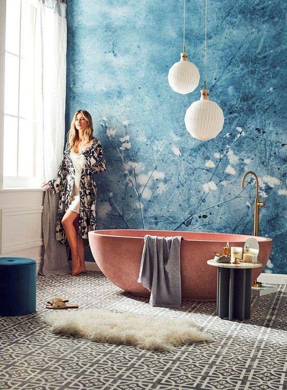 niebieska fototapeta do łazienki