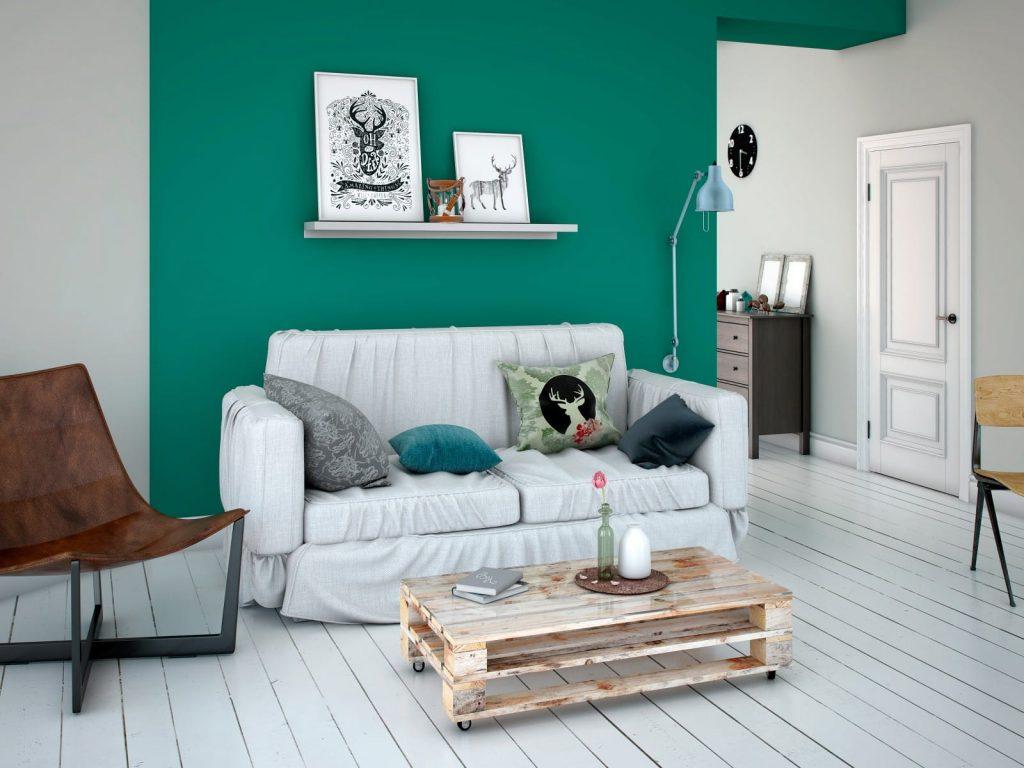 Zielone ściany w sypialni